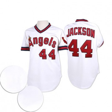Men's Mitchell and Ness Reggie Jackson Los Angeles Angels of Anaheim Authentic White Throwback Jersey