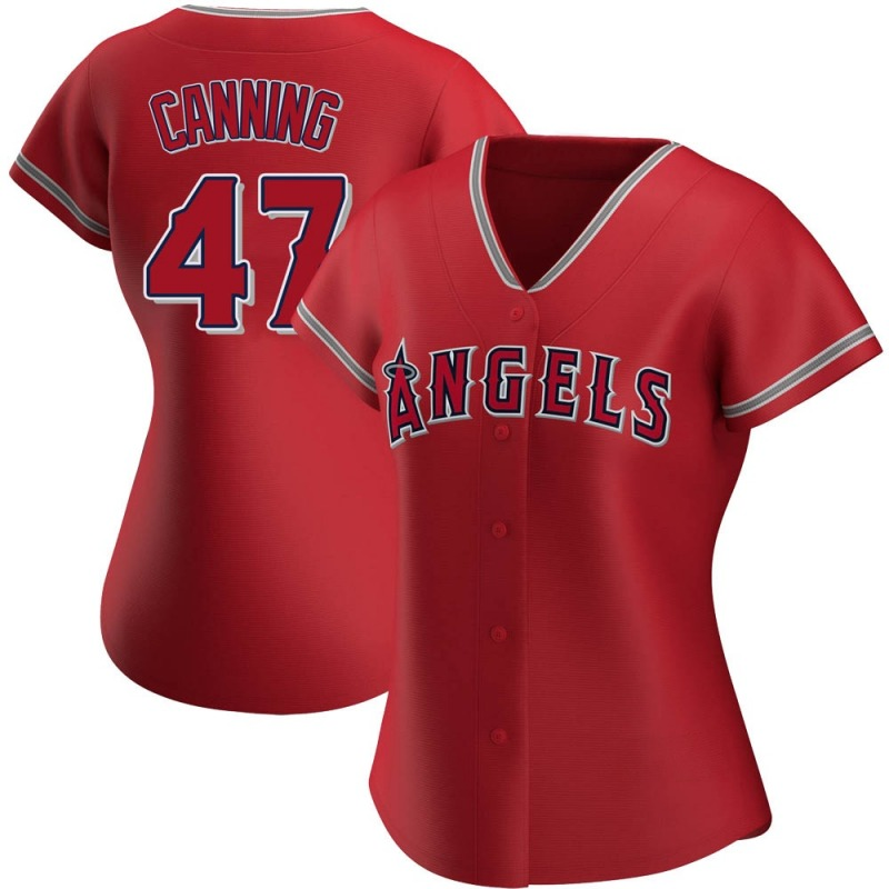 Women's Griffin Canning Los Angeles Angels of Anaheim Replica Red Alternate Jersey