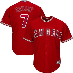 Men's Majestic Zack Cozart Los Angeles Angels of Anaheim Player Authentic Scarlet Cool Base Alternate Jersey