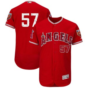 Men's Majestic Dayan Diaz Los Angeles Angels of Anaheim Player Authentic Scarlet Flex Base 2018 Spring Training Jersey