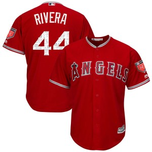 Youth Majestic Rene Rivera Los Angeles Angels of Anaheim Player Replica Scarlet Cool Base 2018 Spring Training Jersey