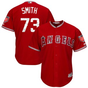Youth Majestic Nate Smith Los Angeles Angels of Anaheim Player Replica Scarlet Cool Base 2018 Spring Training Jersey