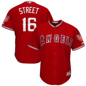 Men's Majestic Huston Street Los Angeles Angels of Anaheim Player Authentic Scarlet Cool Base 2018 Spring Training Jersey