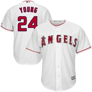 Men's Majestic Chris Young Los Angeles Angels of Anaheim Player Authentic White Cool Base Home Jersey