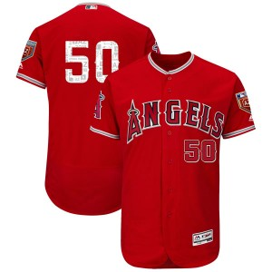 Youth Majestic Miguel Almonte Los Angeles Angels of Anaheim Player Authentic Scarlet Flex Base 2018 Spring Training Jersey