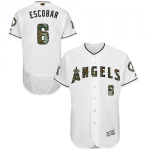 Men's Majestic Yunel Escobar Los Angeles Angels of Anaheim Player Authentic White 2016 Memorial Day Fashion Flex Base Jersey