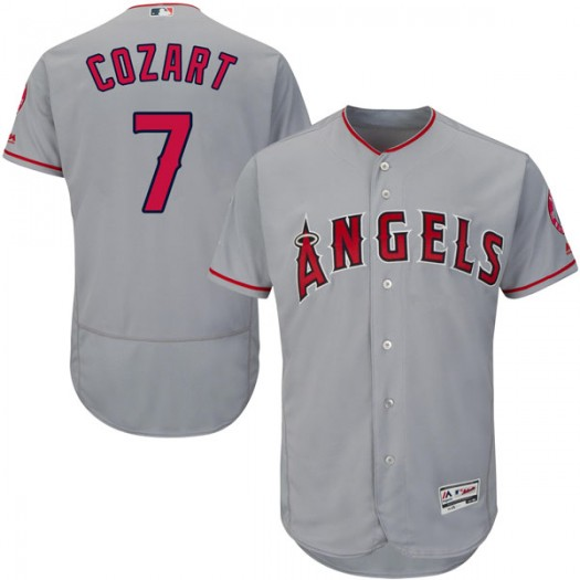 Youth Majestic Zack Cozart Los Angeles Angels of Anaheim Player Authentic Gray Flex Base Road Collection Jersey