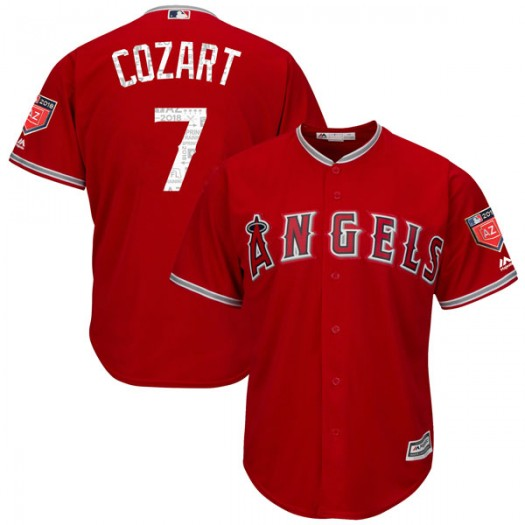 Men's Majestic Zack Cozart Los Angeles Angels of Anaheim Player Authentic Scarlet Cool Base 2018 Spring Training Jersey