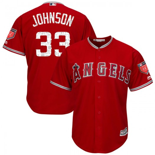 Men's Majestic Jim Johnson Los Angeles Angels of Anaheim Player Authentic Scarlet Cool Base 2018 Spring Training Jersey