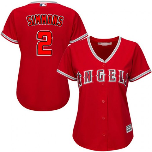 Women's Majestic Andrelton Simmons Los Angeles Angels of Anaheim Player Replica Red Alternate Jersey
